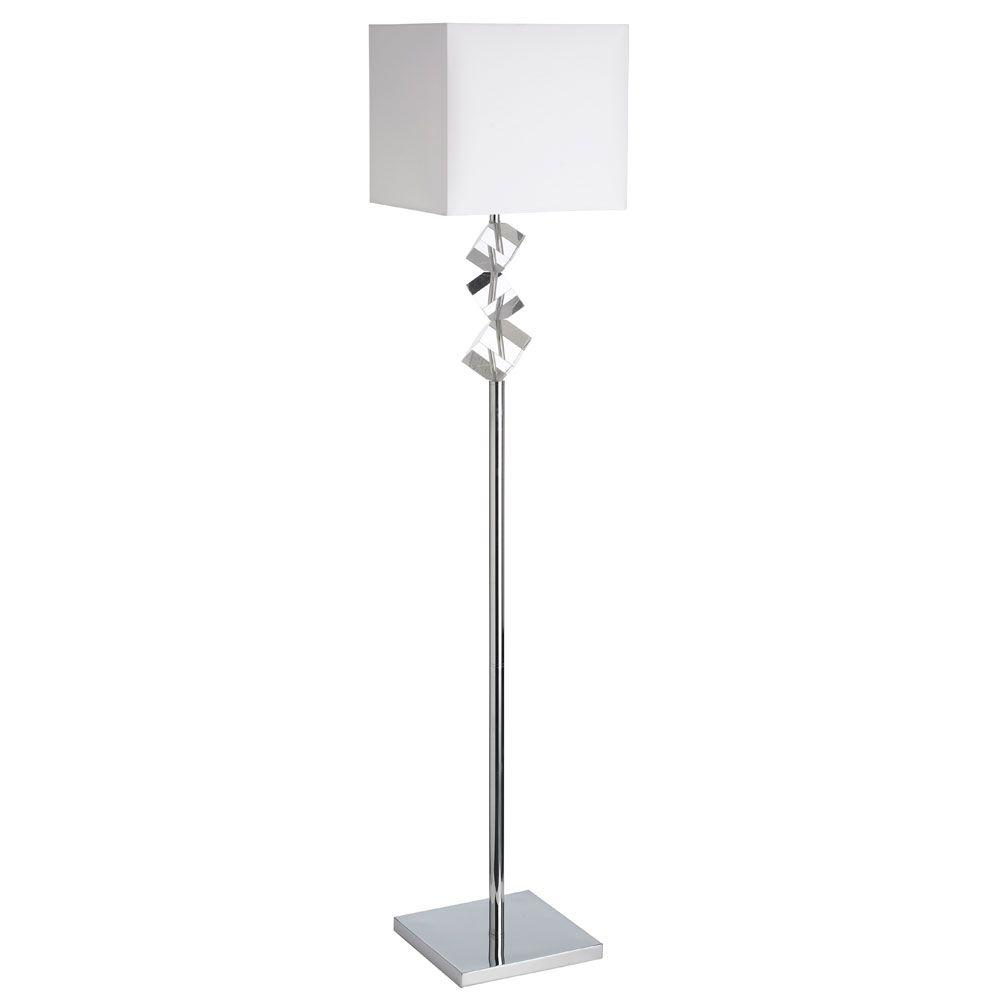 Filament Design Catherine 60 in. Polished Chrome Floor Lamp with White Shades