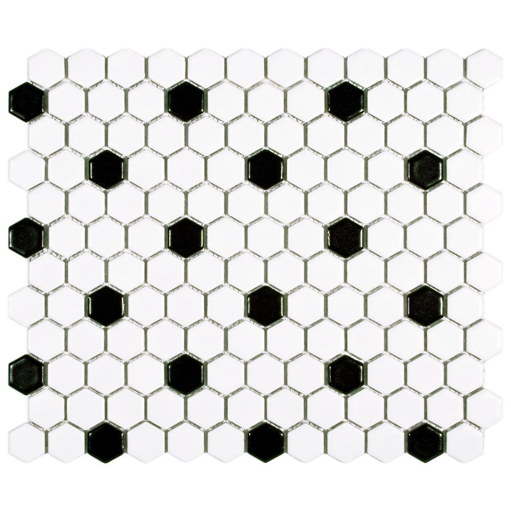 Merola Tile Metro Hex Matte White with Black Dot 10-1/4 in. x 11-3/4 in. x 5 mm Porcelain Mosaic Tile (8.54 sq. ft. / case)