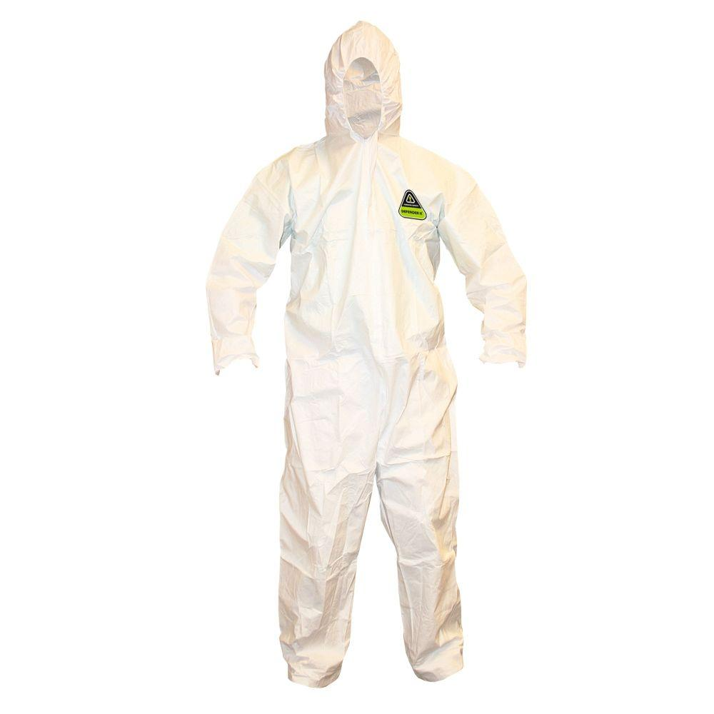 Defender II Microporous Men's Large White Hooded Coveralls