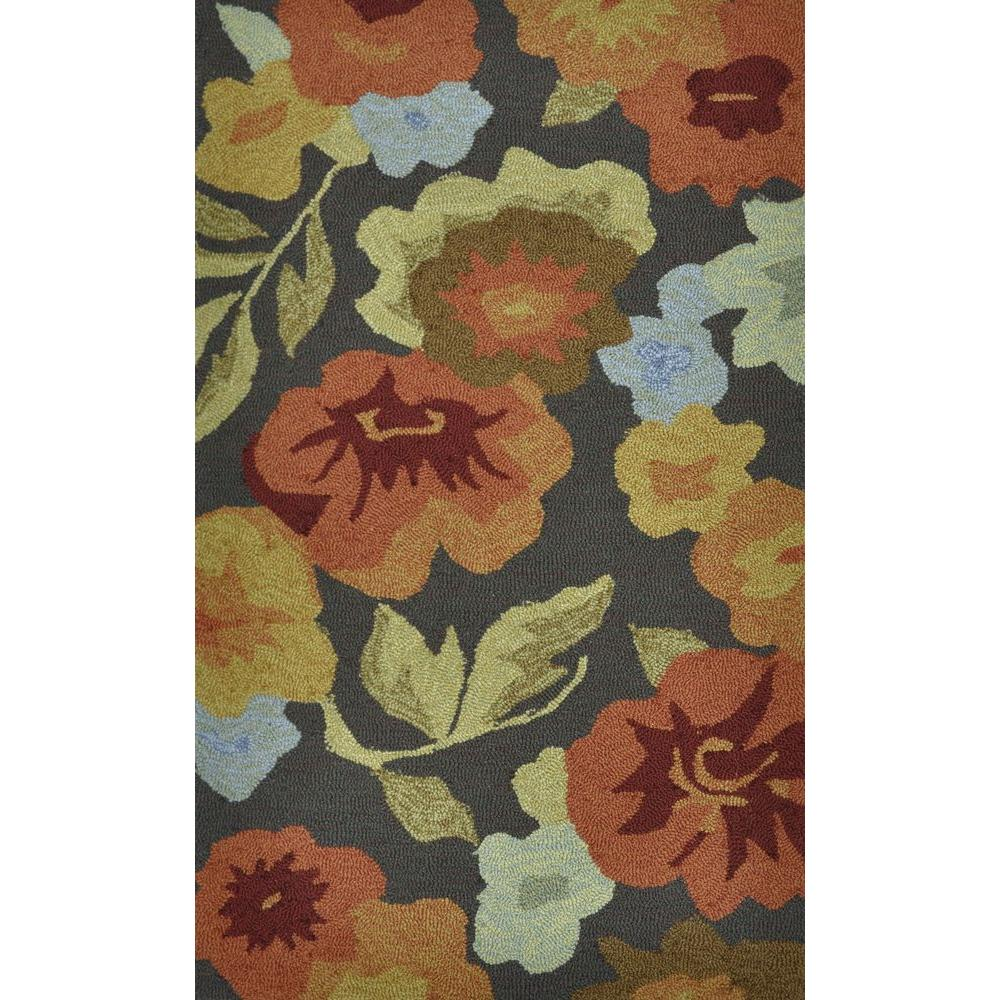 Modern Indoor/Outdoor Accent Rug: Loloi Rugs Rugs Summerton Life Style Collection Dark Brown/Floral 2 ft. 3 in. x 3 ft. 9 in. SUMRSSC02DBFB2339