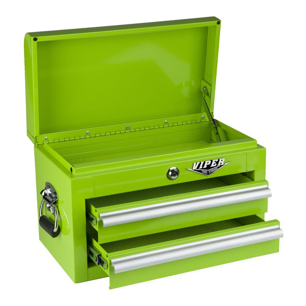 Viper Tool Storage 18 in. 2-Drawer Mini Chest, Lime Green