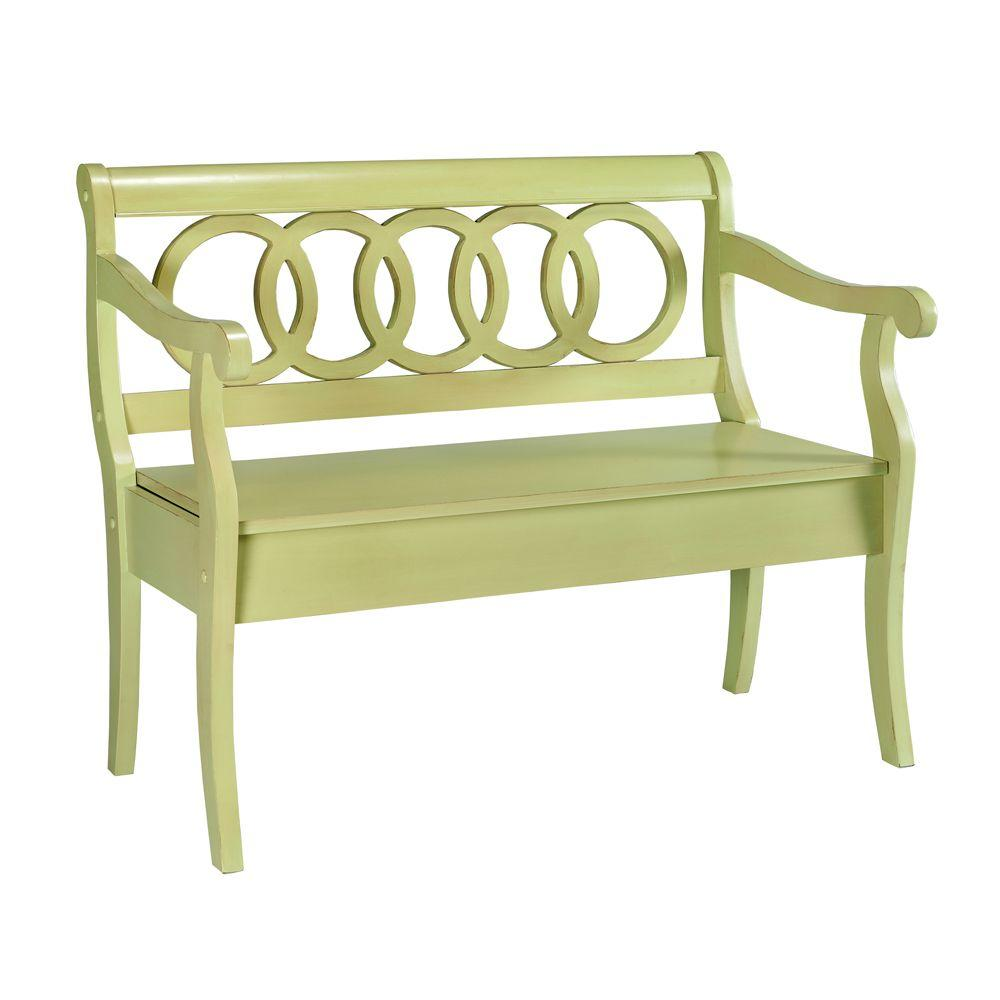 Home Decorators Collection Logan Sultana Green Storage Bench-DISCONTINUED