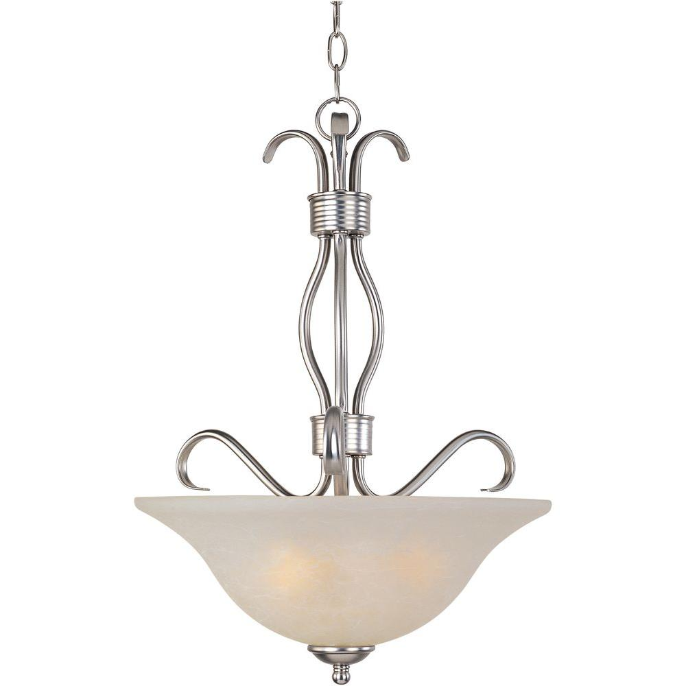 Maxim Lighting Basix EE 3-Light Satin Nickel Invert Bowl Pendant-85121ICSN -