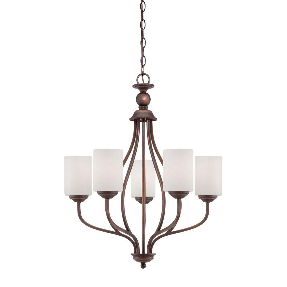 Millennium Lighting 5-Light Brushed Pewter Chandelier with Etched White