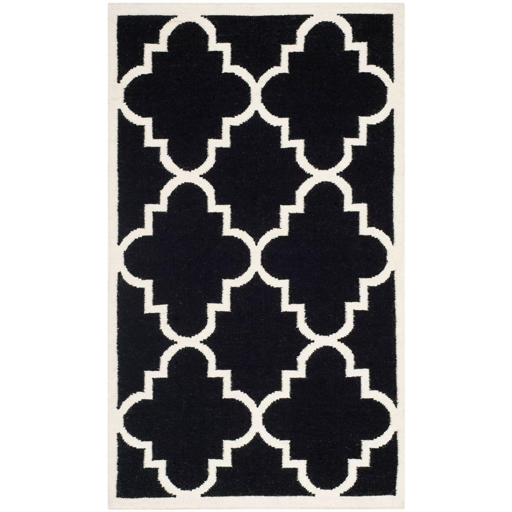 Dhurries Black/Ivory 3 ft. x 5 ft. Area Rug