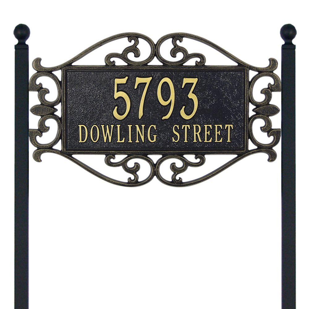 Whitehall Products Lewis Fretwork Rectangular Black/Gold Estate Lawn Two Line Address Plaque