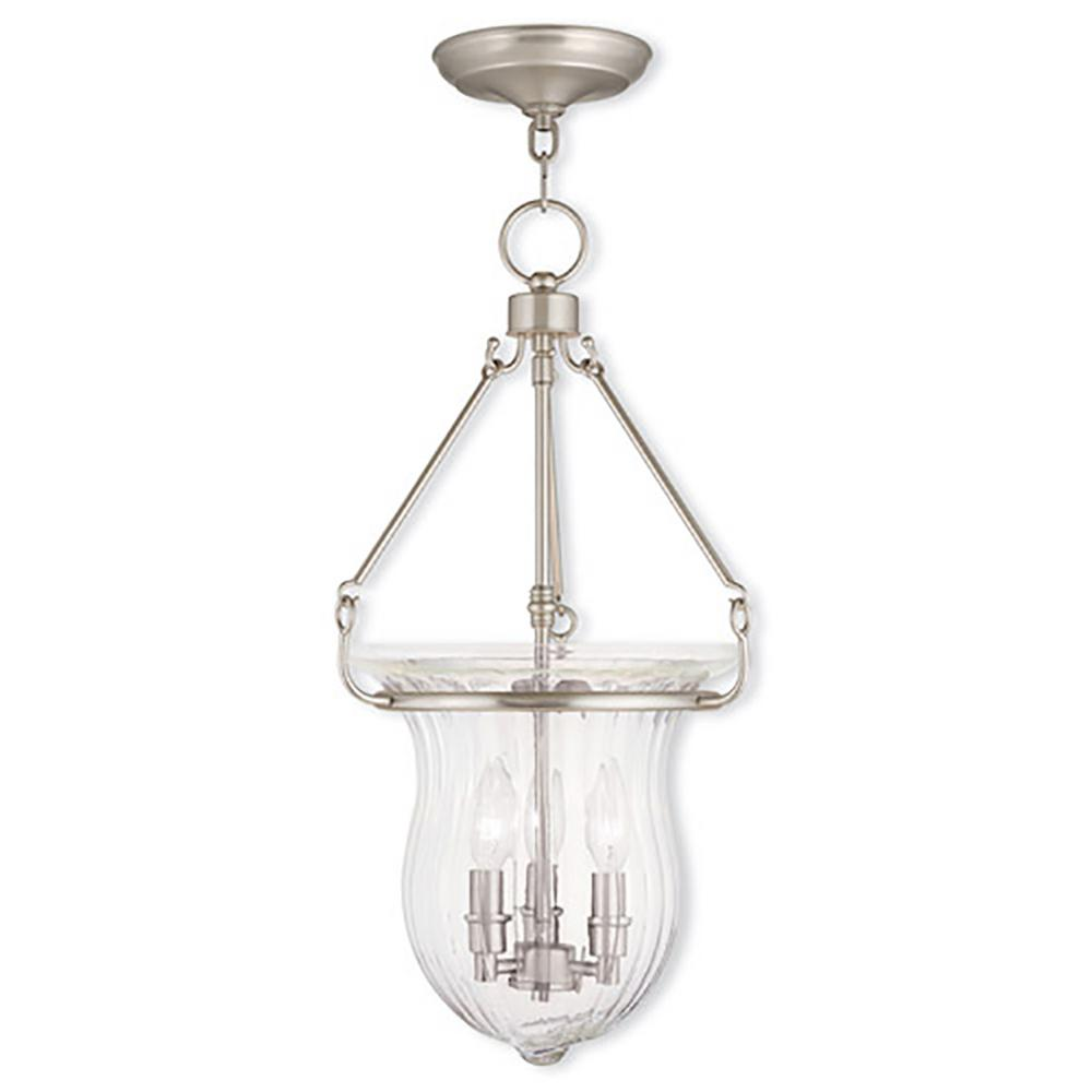 Livex Lighting Andover 3-Light Brushed Nickel Pendant-50944-91 - The Home Depot