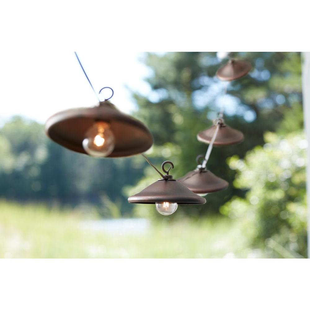 8-Light Outdoor Hanging Bronze Cafe Light with Bronze Metal Cover