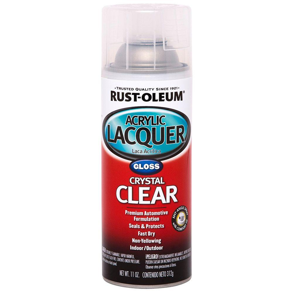 Rust Oleum Automotive 11 Oz Clear Gloss Acrylic Lacquer Spray Paint 253366 The Home Depot