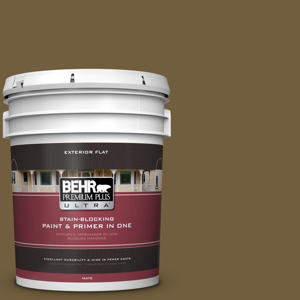 5-gal. #360F-7 Olive Shadow Flat Exterior Paint