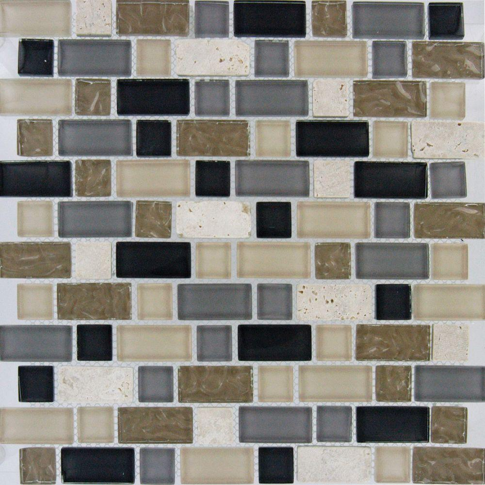 MS International Stonecrest Interlocking 12 in. x 12 in. x 8 mm Glass and Stone Mesh-Mounted Mosaic Tile