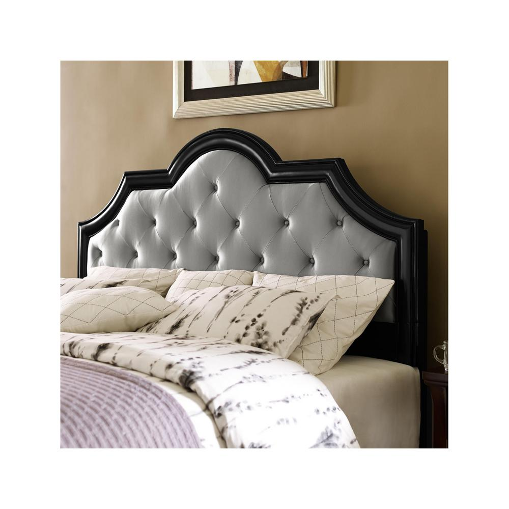 Upholstered Queen Headboard with Black Frame in Gray