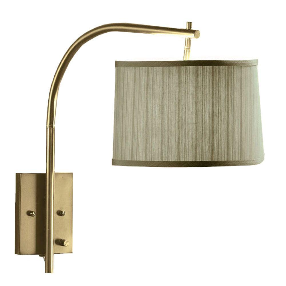 Home Decorators Collection Arch 1-Light Antique Brass Wall Large Swing-Arm Pin-up Lamp