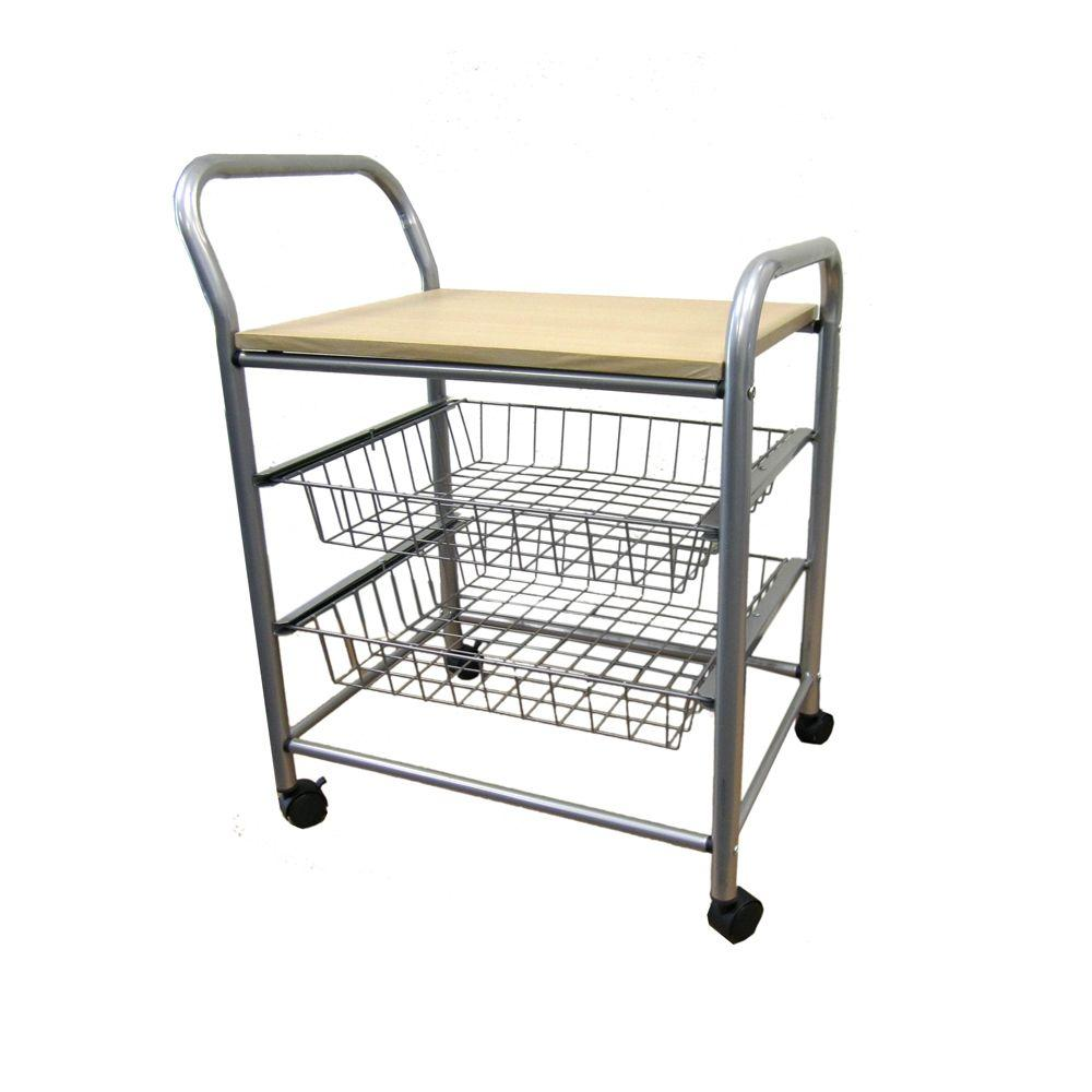 Home Decorators Collection Silver Kitchen Cart With Baskets F 2006 The Home Depot