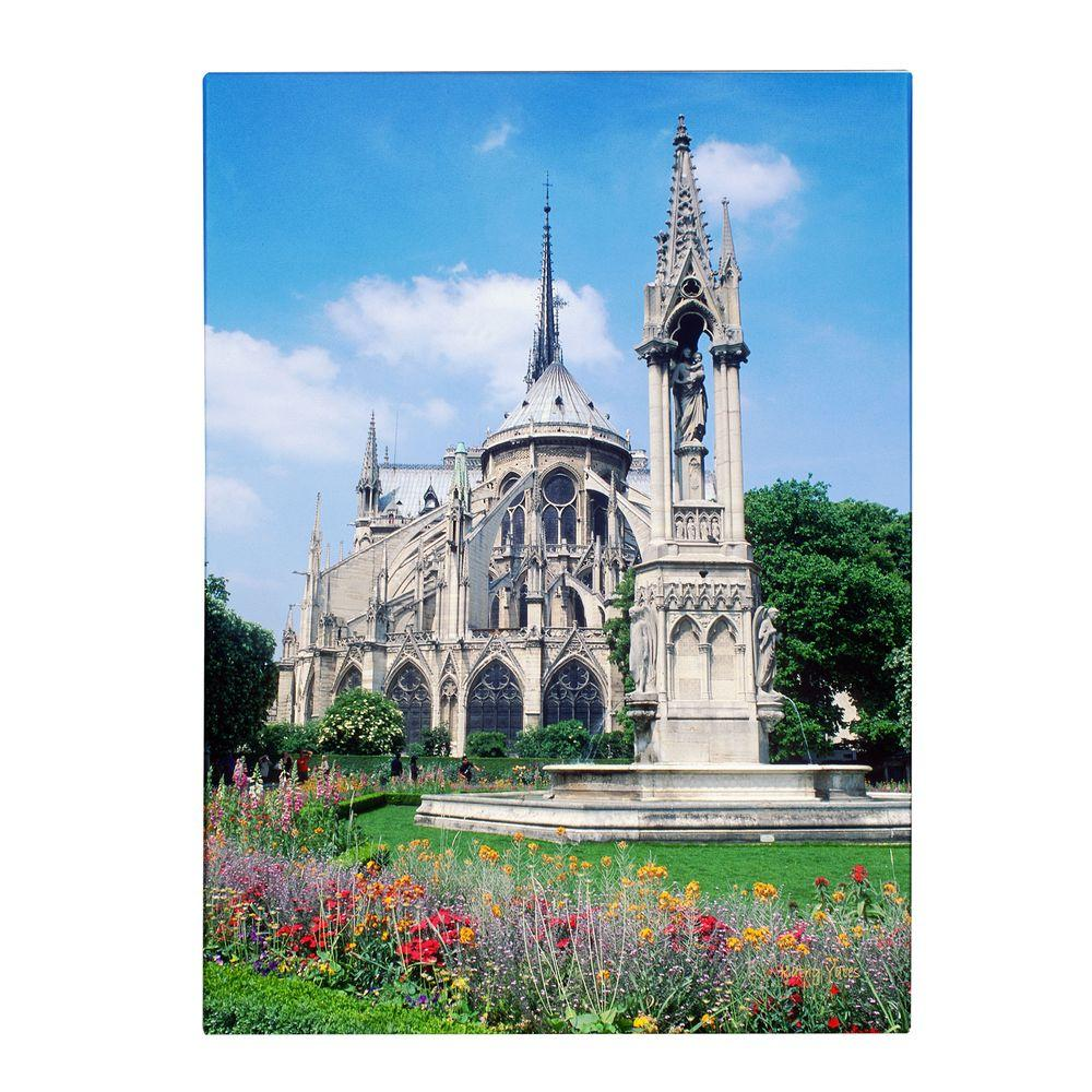 19 in. x 14 in. Notre Dame in Spring Canvas Art
