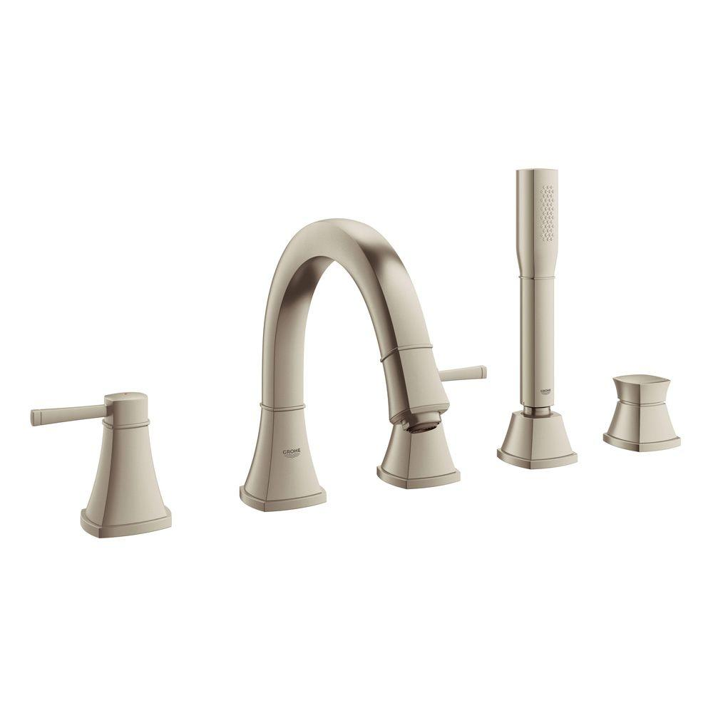 GROHE Grandera 2-Handle Deck-Mount Roman Tub Faucet with Personal Hand Shower in Brushed Nickel InfinityFinish