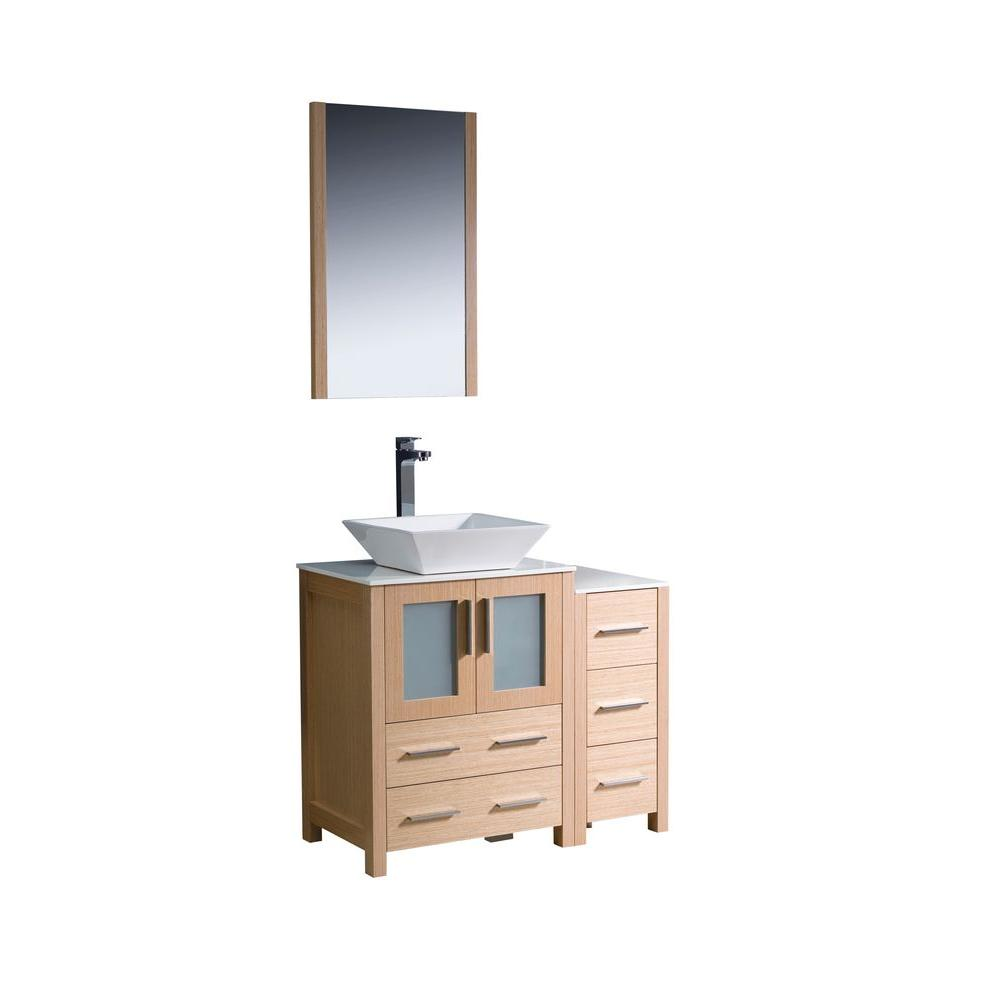 Torino 36 in. Vanity in Light Oak with Glass Stone Vanity
