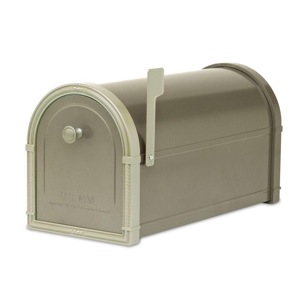 Architectural Mailboxes Bellevue Bronze with White Bronze Accents Post-Mount