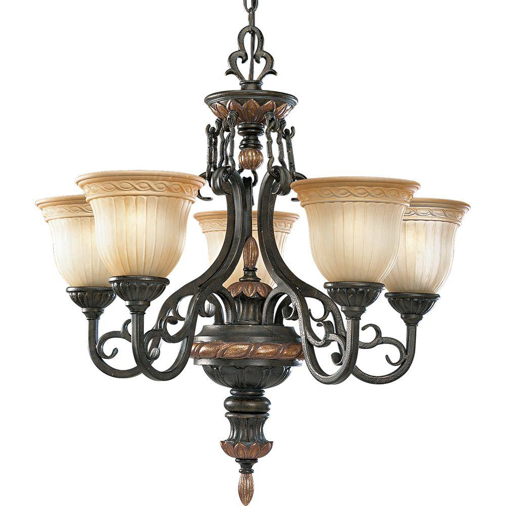 Thomasville Lighting Provence Collection Old Iron Crackle 5-light Chandelier-DISCONTINUED
