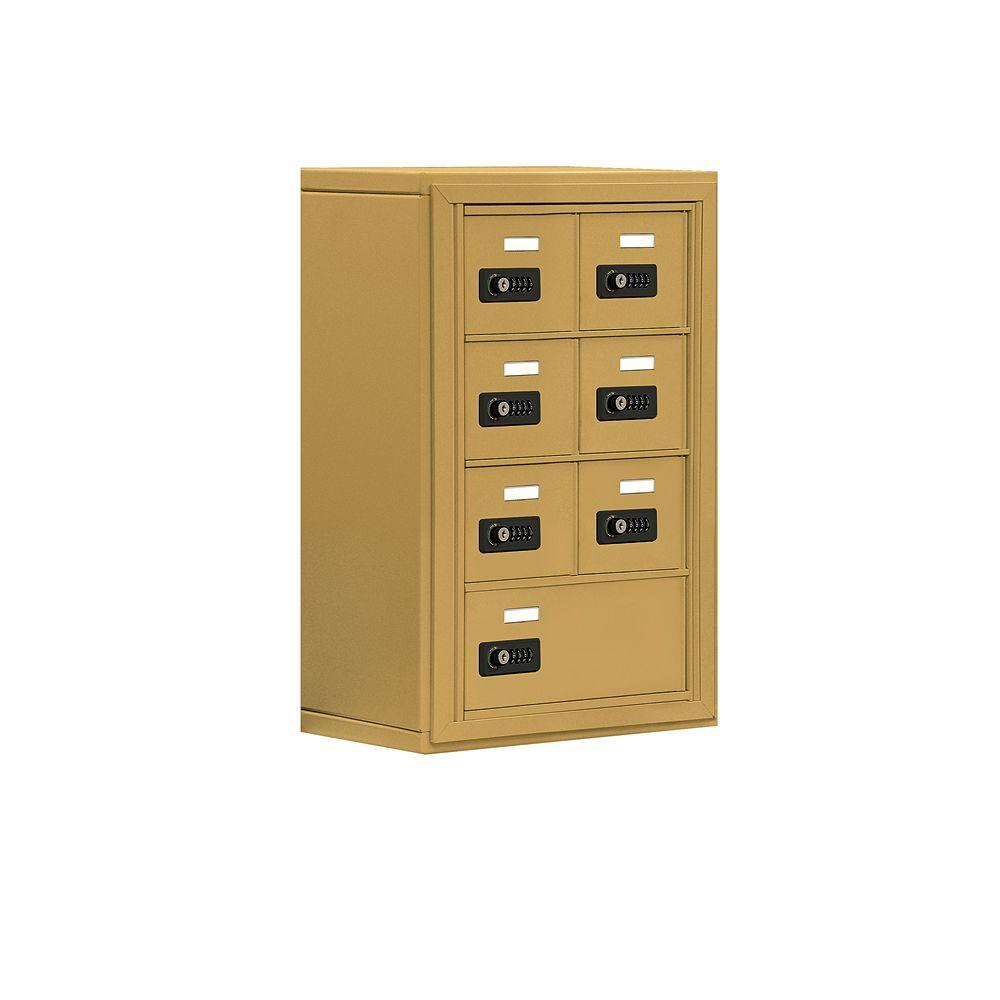 Salsbury Industries 19000 Series 17.5 in. W x 25.5 in. H x 9.25 in. D 6 A / 1 B Doors S-Mount Resettable Locks Cell Phone Locker in Gold