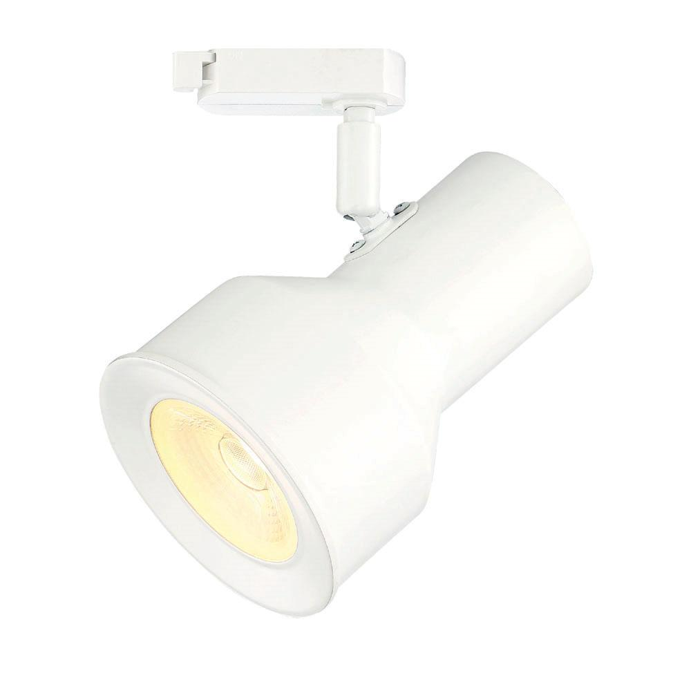 Large Solid White Step Cylinder Integrated LED Track Lighting Head