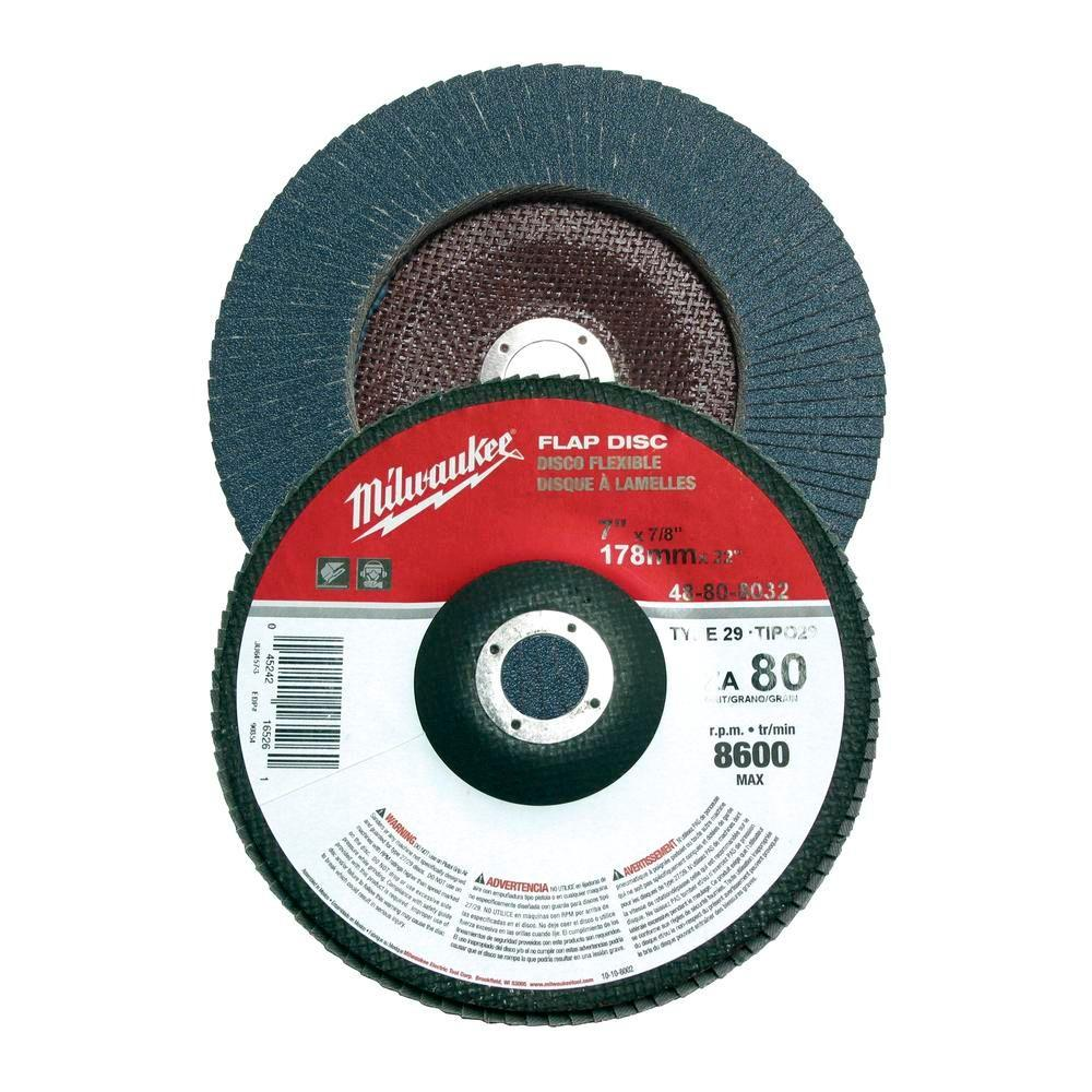 Milwaukee 7 in. x 7/8 in. 60 Grit Flap Disc (Type 29)