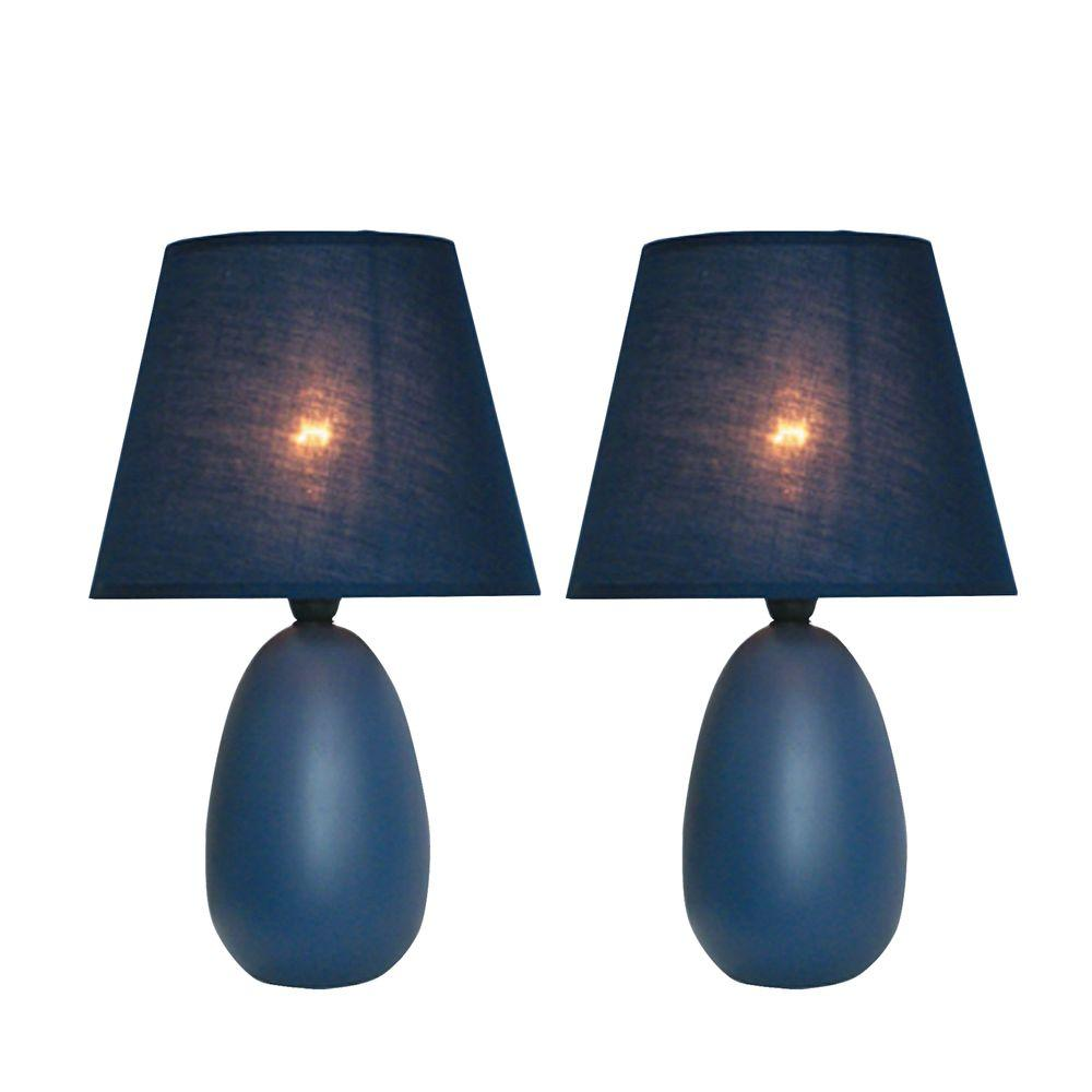 Simple Designs Mini 9 in. Egg Oval Blue Ceramic Table Lamp (2-Pack)