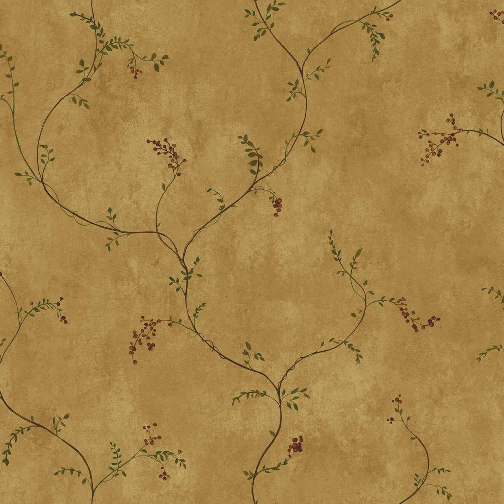 York Wallcoverings Small Vine with Berries Wallpaper