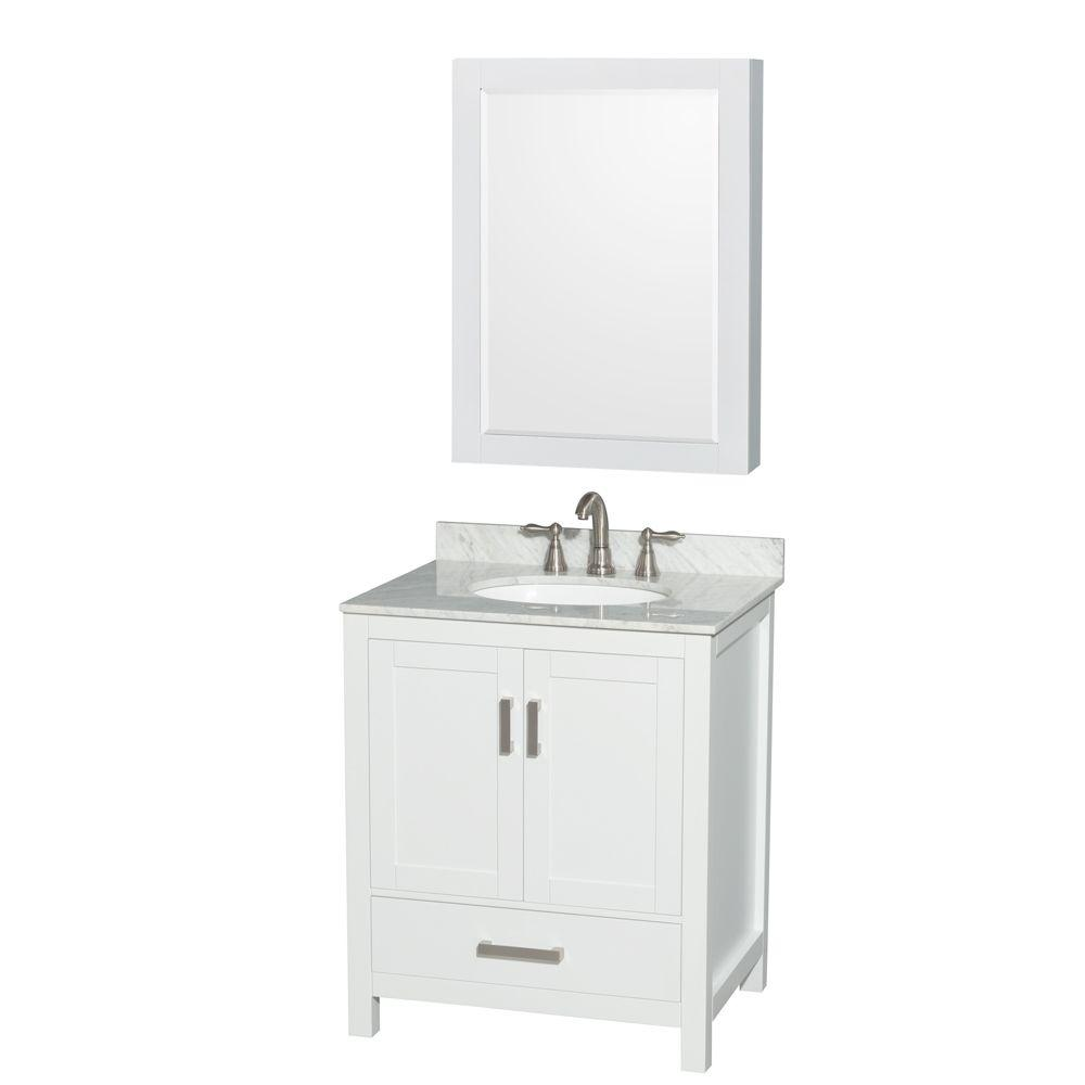 Wyndham Collection Sheffield 30 in. W x 22 in. D Vanity in White with Marble Vanity Top in Carrara White with White Basin and Mirror