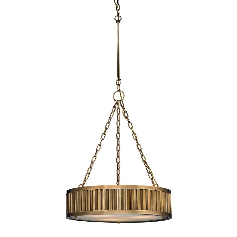 Munsey Park Collection 3-Light Aged Brass LED Pendant