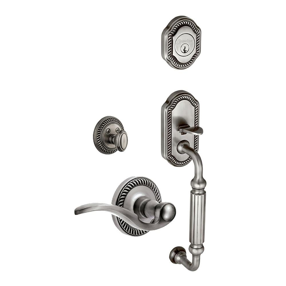Grandeur Newport Single Cylinder Antique Pewter F-Grip Handleset with Right