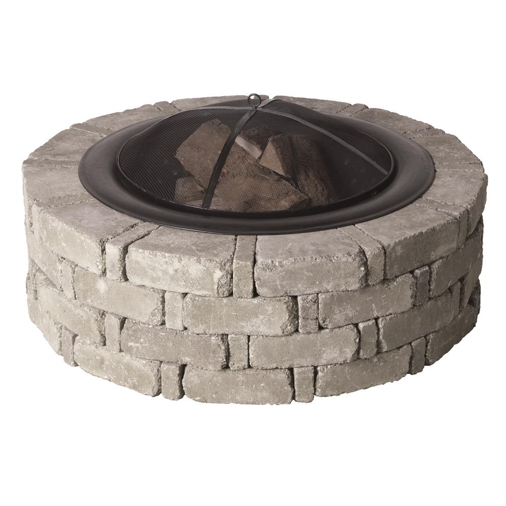 RumbleStone 46 in. x 14 in. Round Concrete Fire Pit Kit No. 2 in Greystone