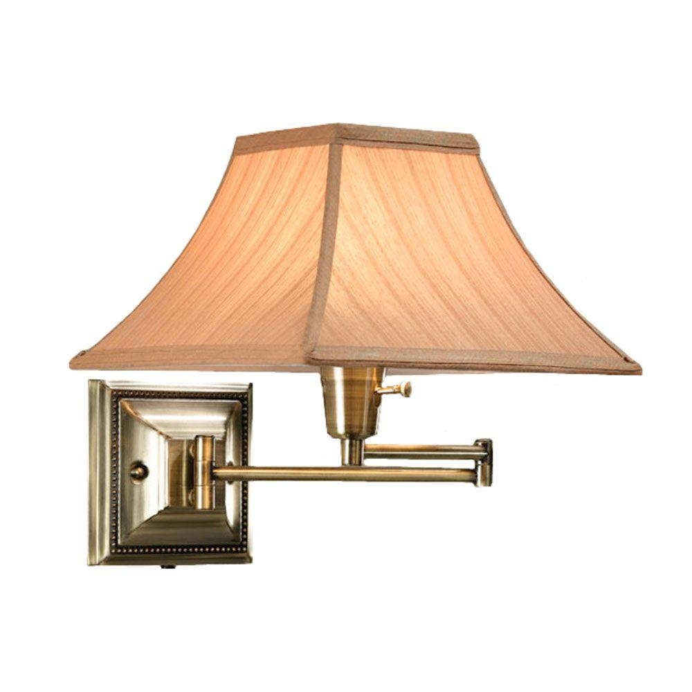 Home Decorators Collection 1-Light Distressed/Antique Brass Kingston Swing-Arm Pin-Up Lamp