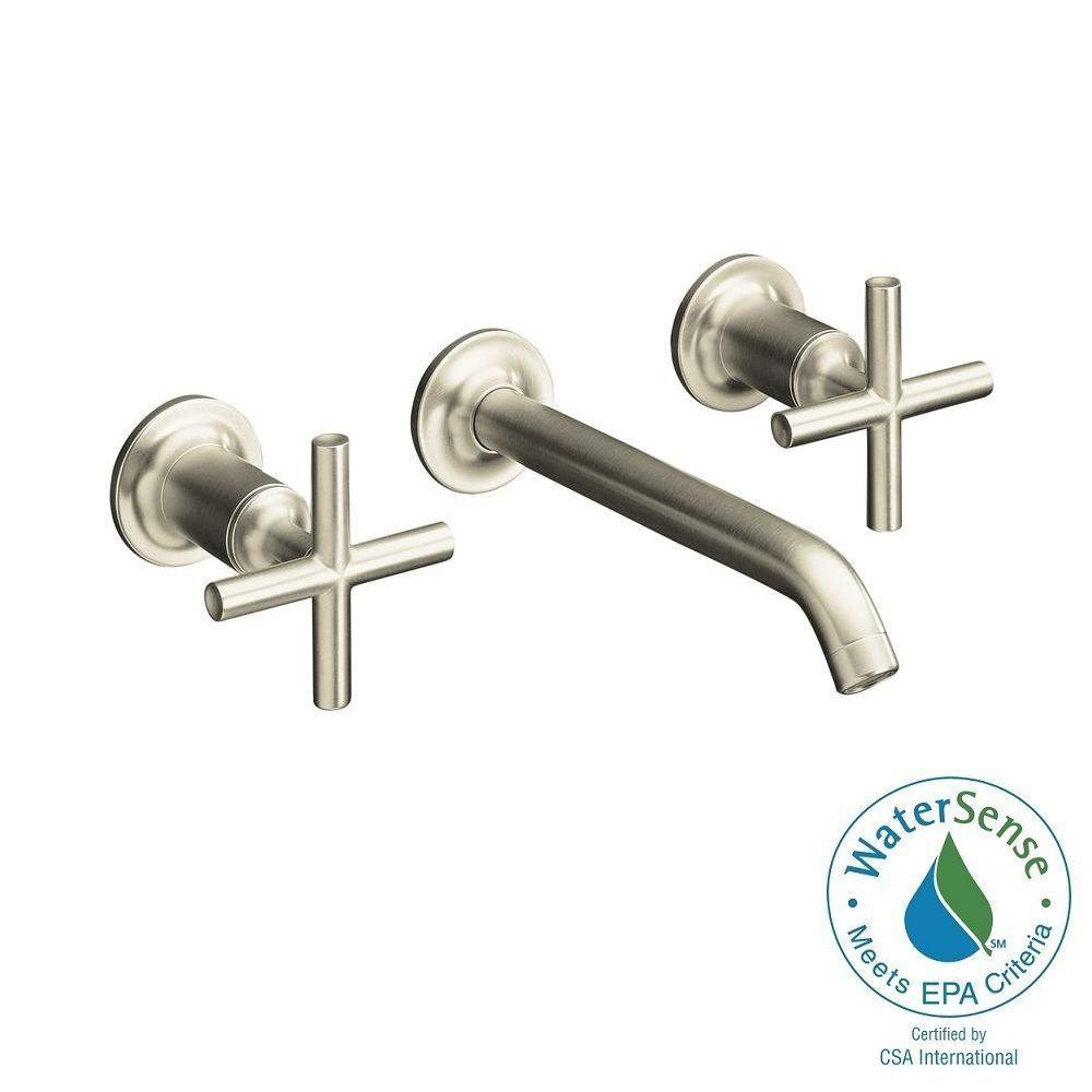 Purist Wall Mount 2-Handle Mid-Arc Water-Saving Bathroom Faucet Trim Kit in