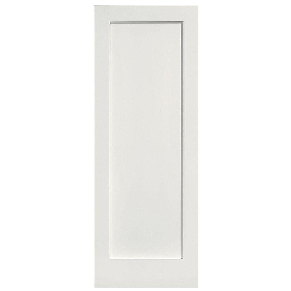 Masonite 28 in. x 80 in. MDF Series Smooth 1-Panel Solid Core Primed Composite Single Prehung Interior Door