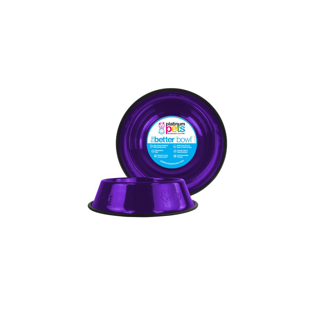 Platinum Pets 1 Cup Stainless Steel Embossed Non-Tip Puppy Bowl in Purple