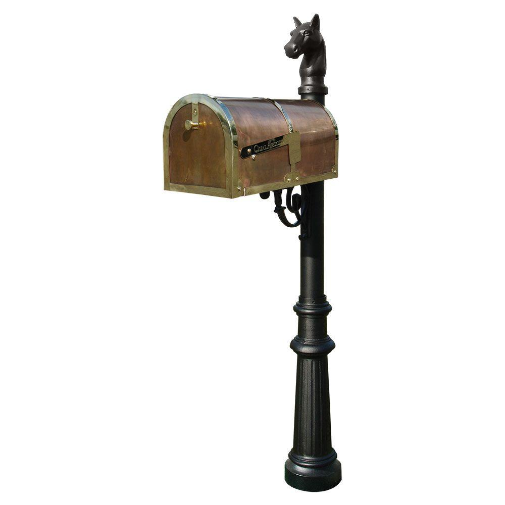 QualArc Polished Brass Post Mount Non-Locking Mailbox with Lewiston Post System