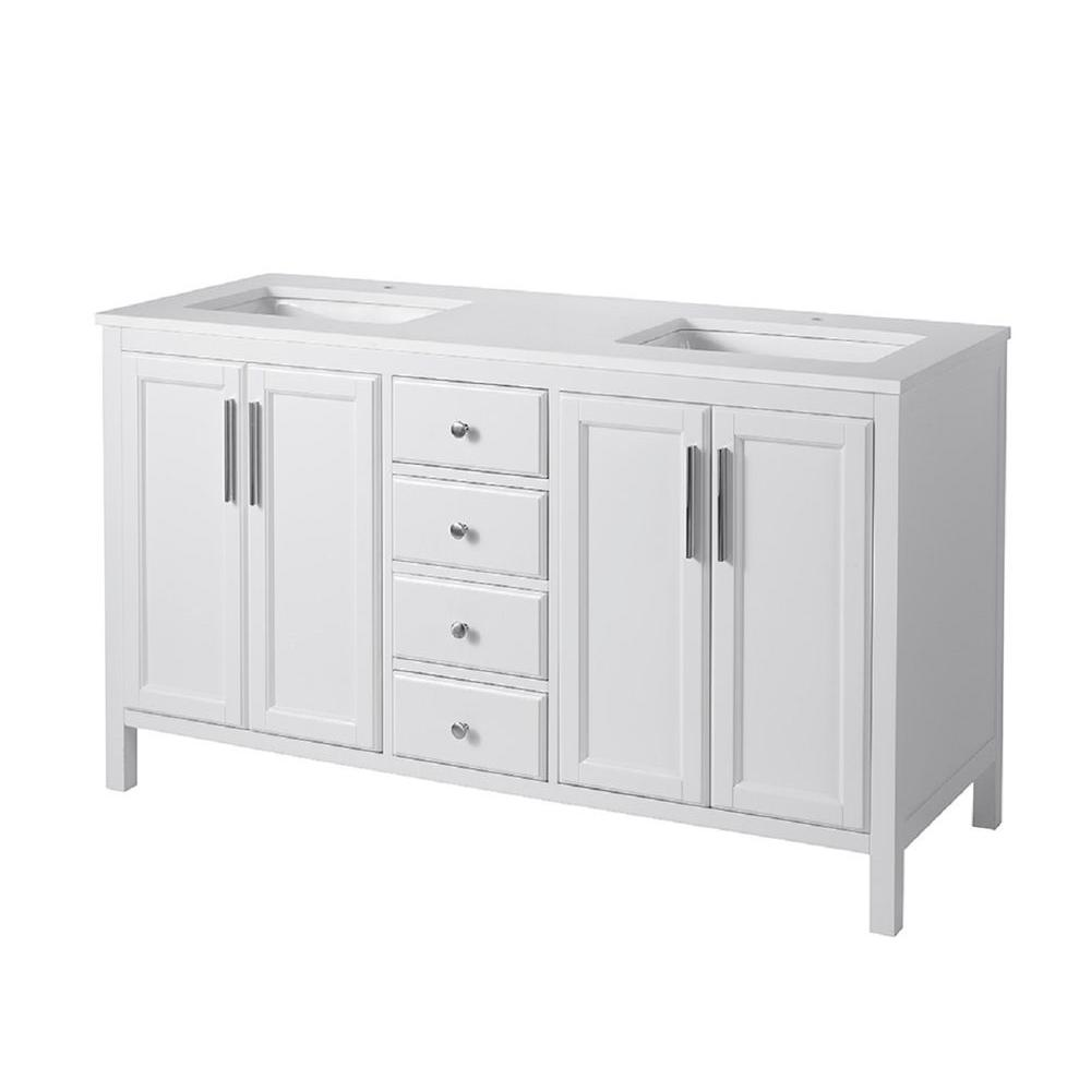 stufurhome Emily 59 in. W x 22 in. D x 33.5 in. H Vanity in White with Quartz Vanity Top in White and Basins