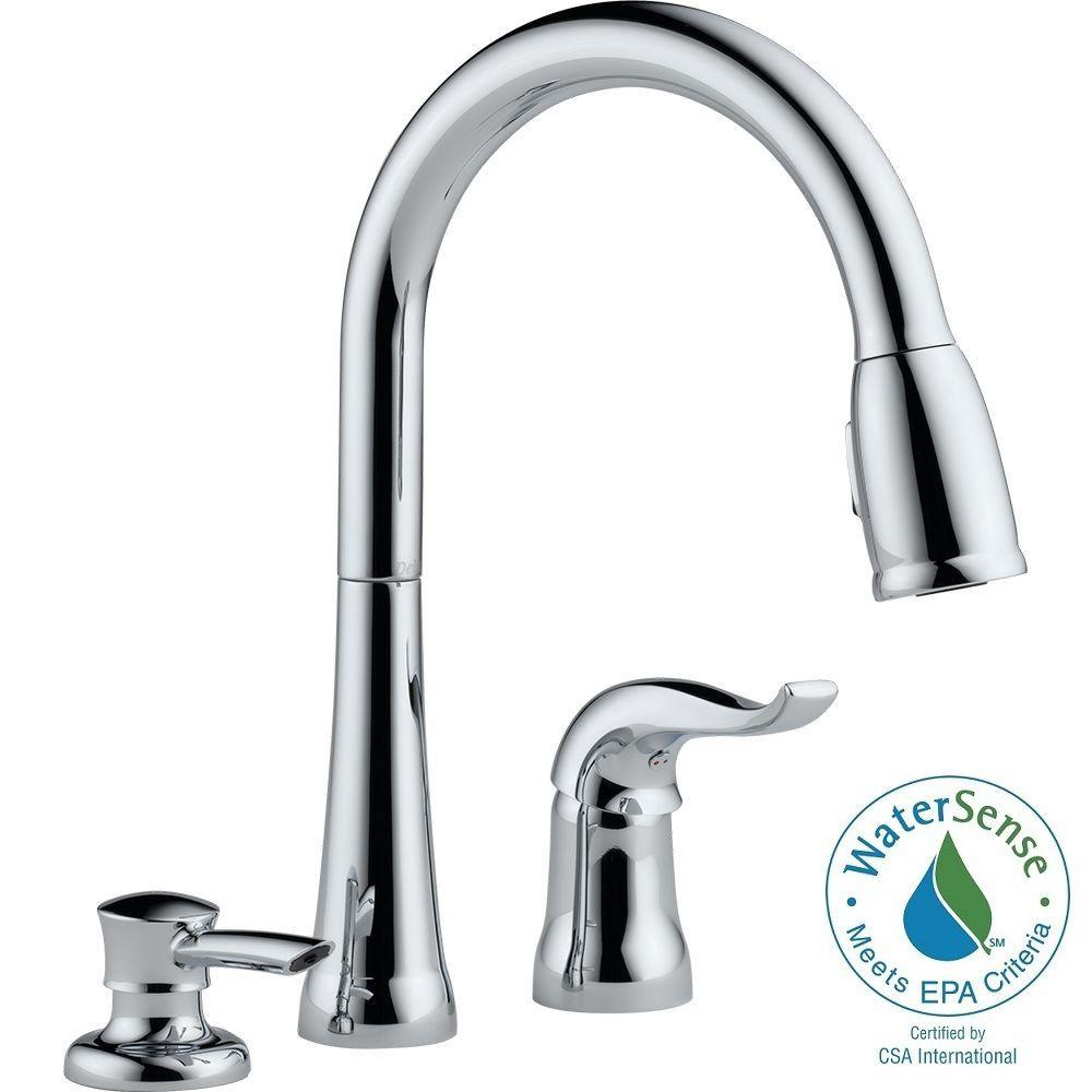 Delta kate single handle pull down sprayer kitchen faucet for Faucet and soap dispenser placement
