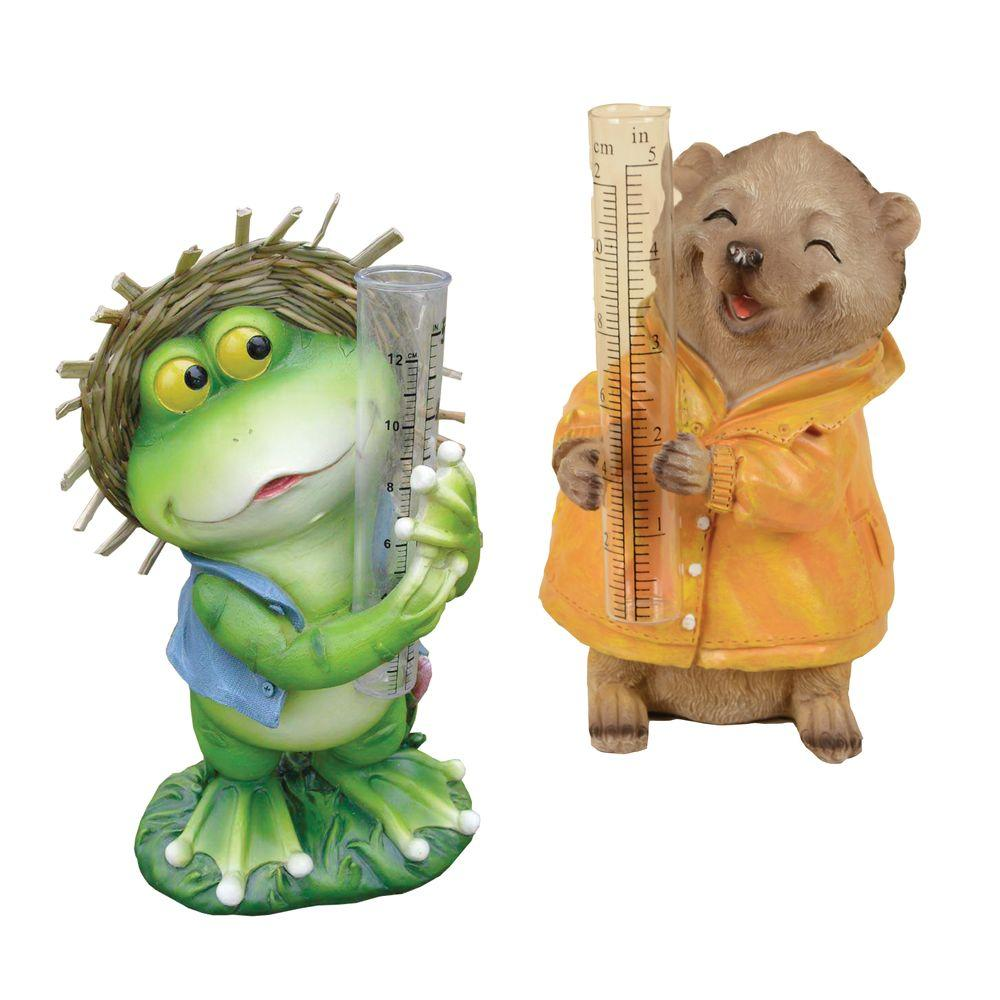 Arcadia Garden Products Country Frog and Hedgehog Fiber Clay Rain Gauge-RG08