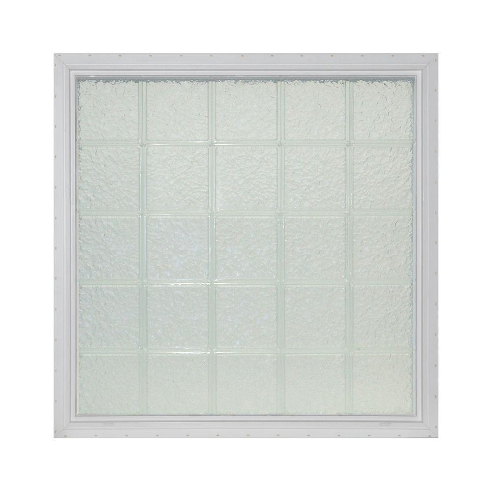Pittsburgh Corning 43 in. x 43 in. x 4.75 in. IceScapes Pattern Vinyl Glass Block Window