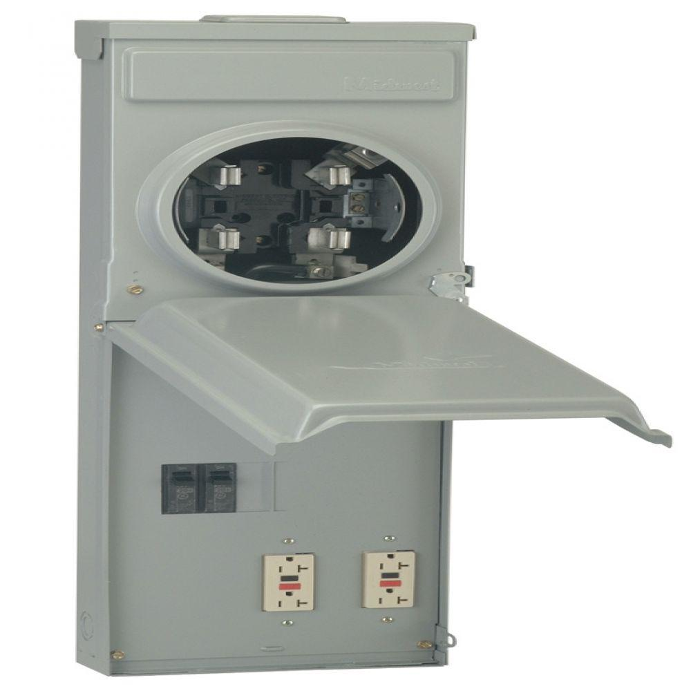 GE 100 Amp Ringless Metered Temporary Power Box with GFCI Top
