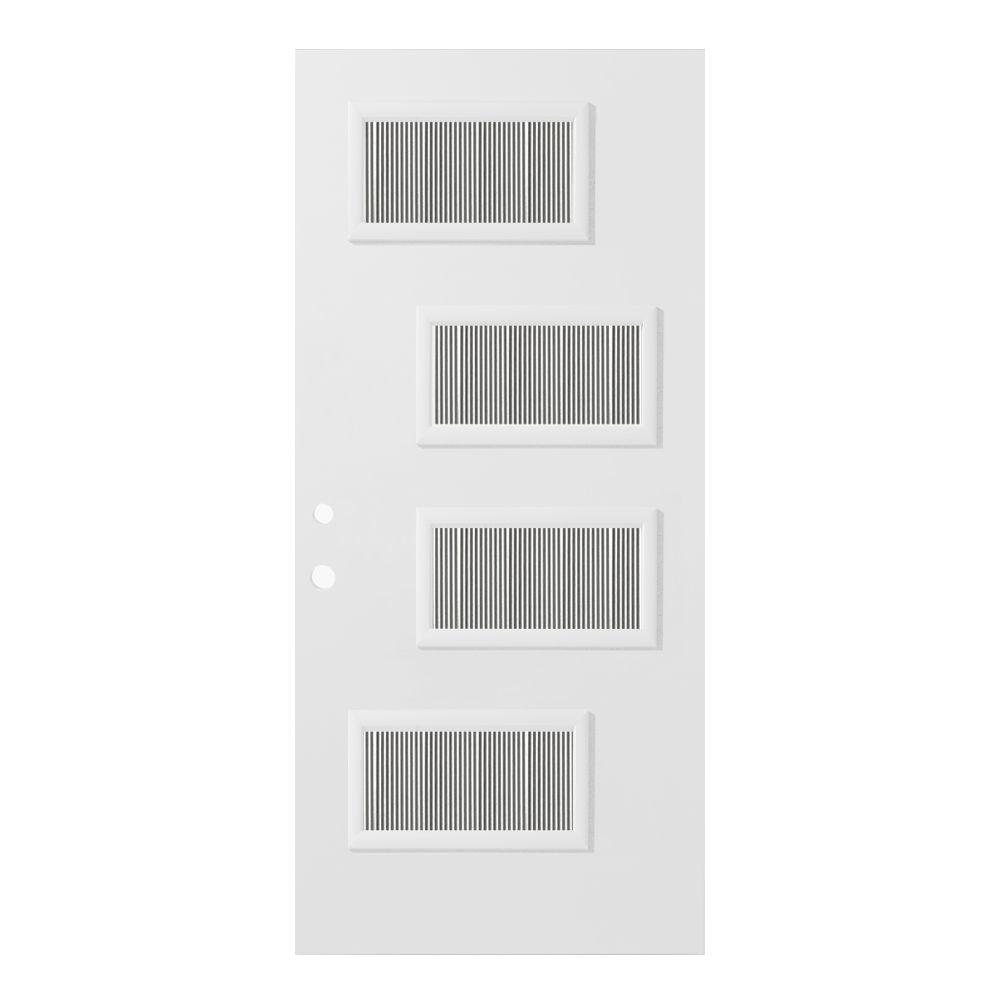 Stanley Doors 33.375 in. x 82.375 in. Beatrice Flutelite 4 Lite Painted White Right-Hand Inswing Steel Prehung Front Door
