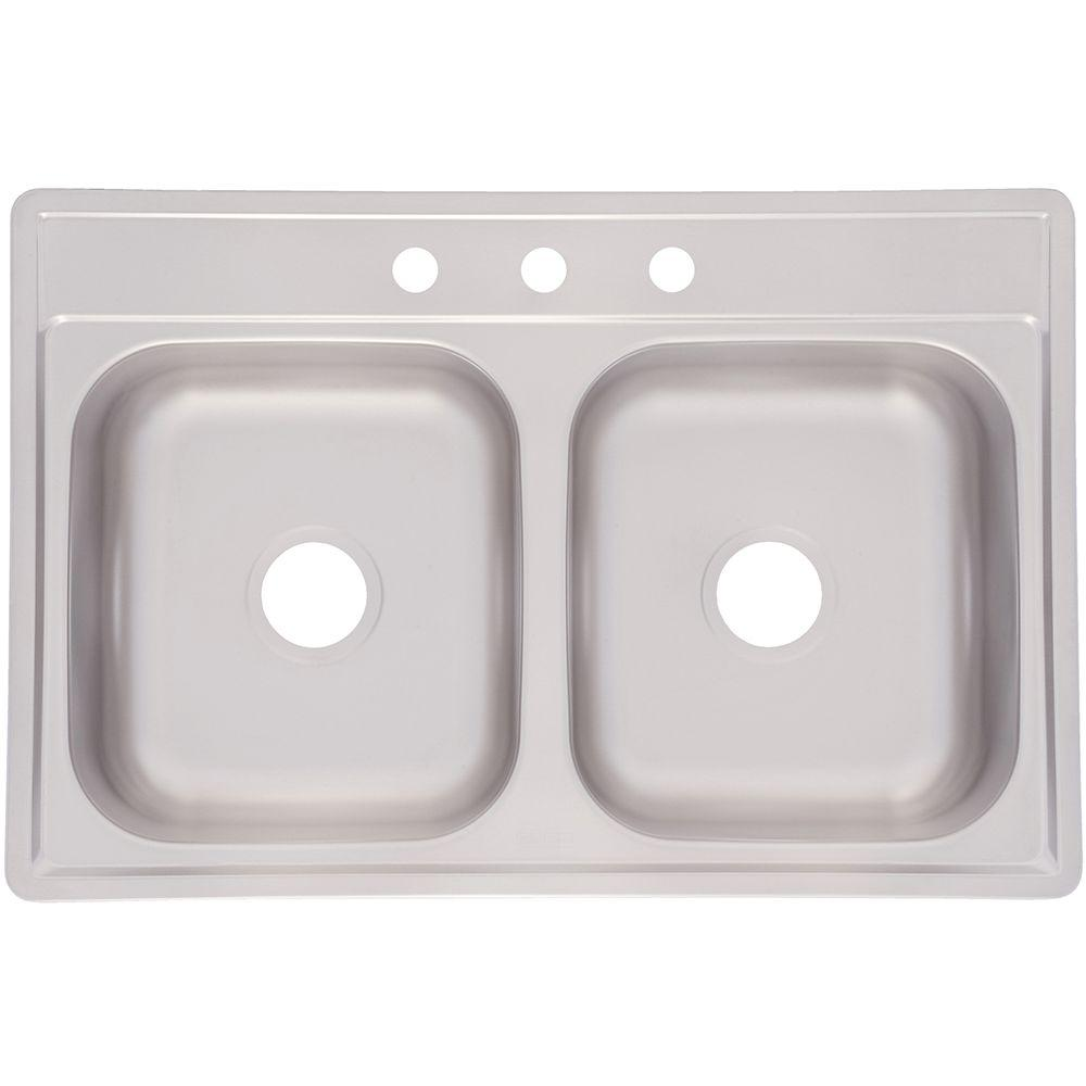 Top Mount Stainless Steel 33x22x7 3-Hole Double Bowl Kitchen Sink, Satin Deck And Bowl