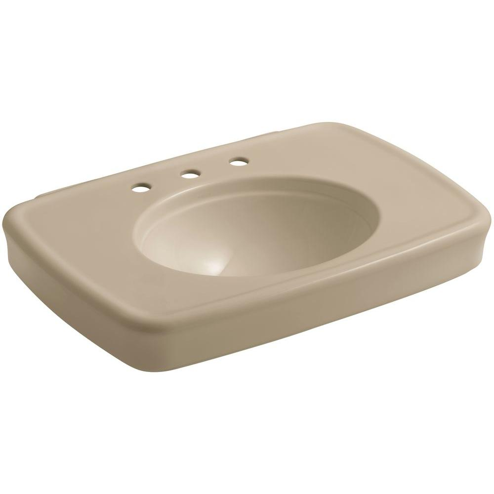 KOHLER Bancroft 30-3/8 in. Ceramic Pedestal Sink Basin in Mexican Sand with Overflow Drain