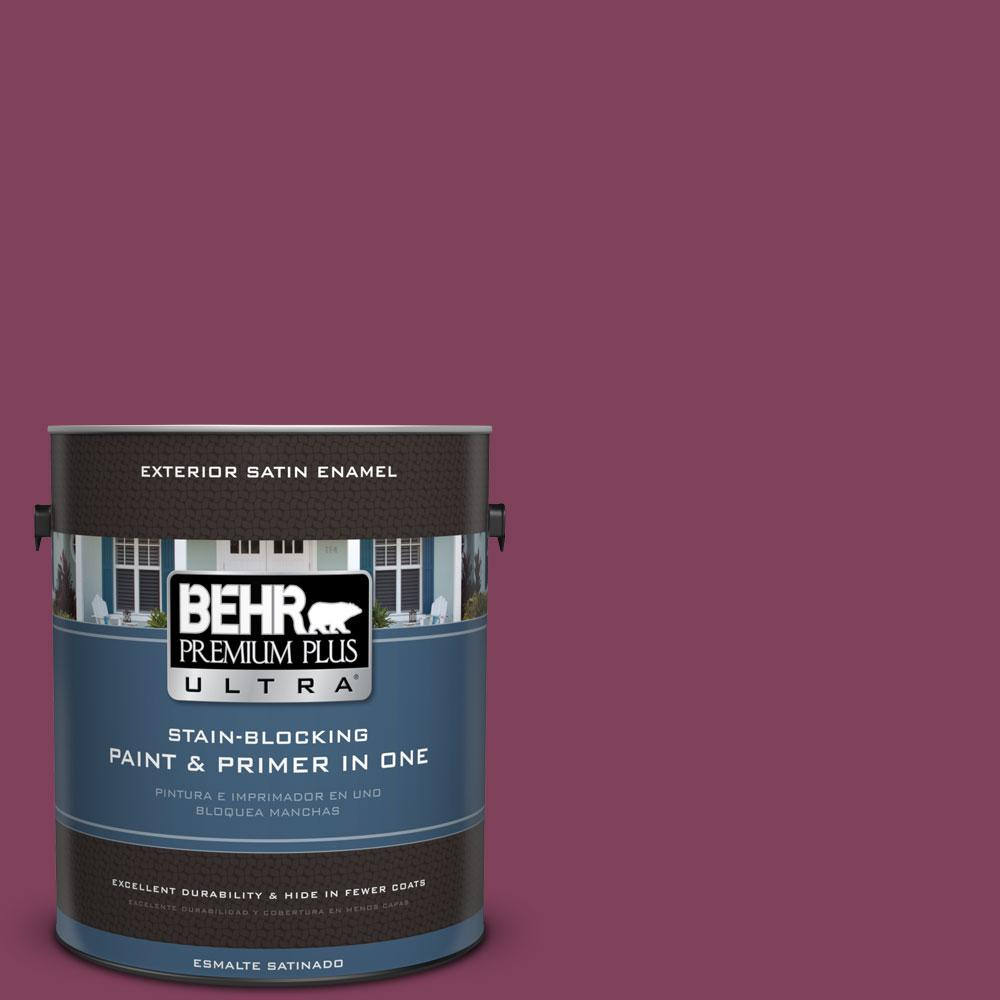 BEHR Premium Plus Ultra Home Decorators Collection 1-gal. #HDC-WR14-12 Cheerful Wine Satin Enamel Exterior Paint