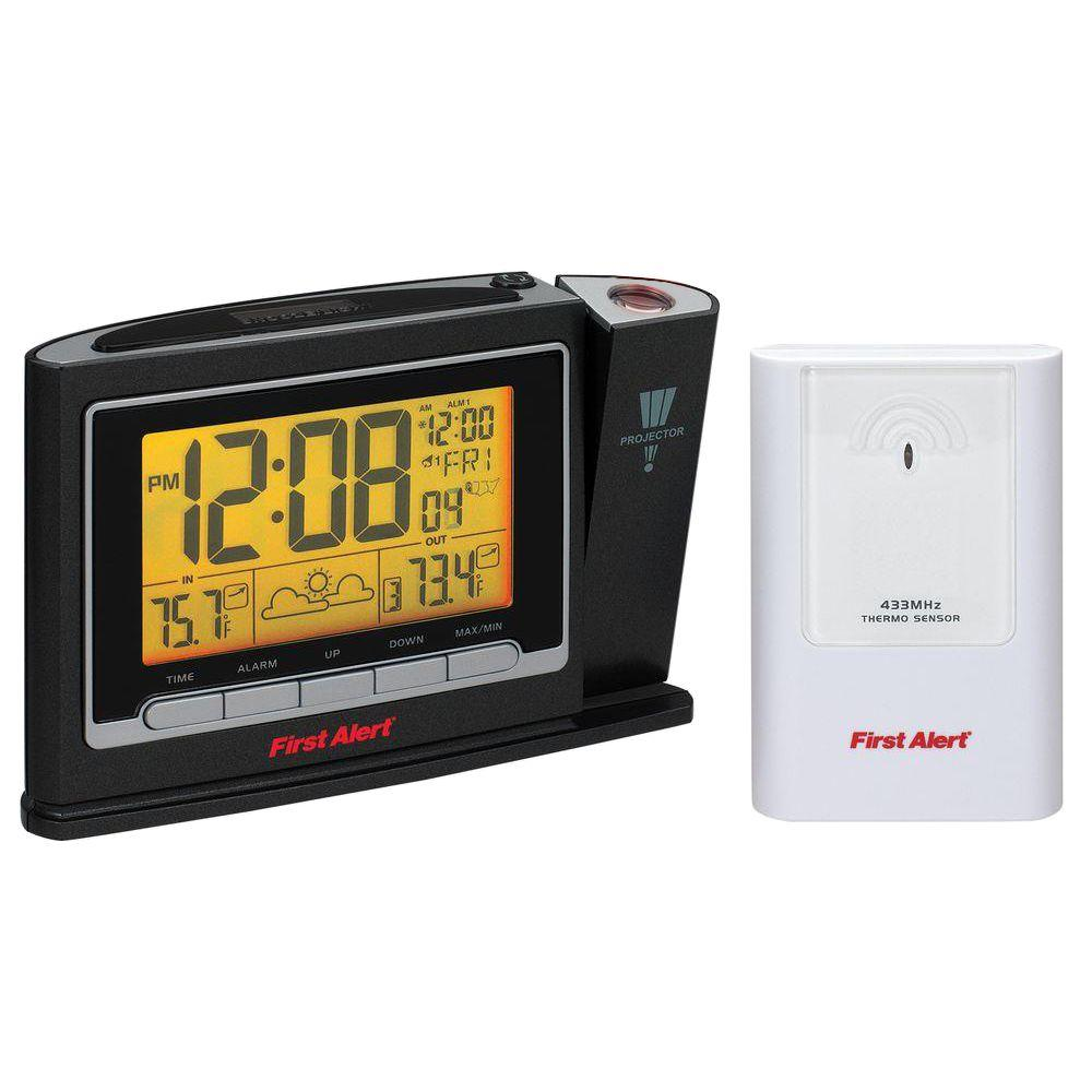 Radio Controlled Weather Station Projection Clock with Wireless Sensor