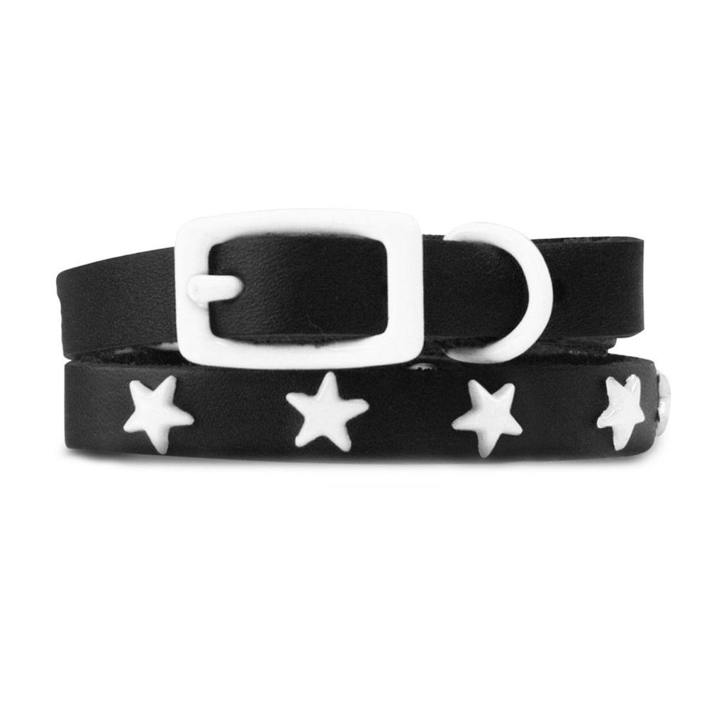 Platinum Pets 29 in. Black Genuine Leather Dog Collar in White Stars