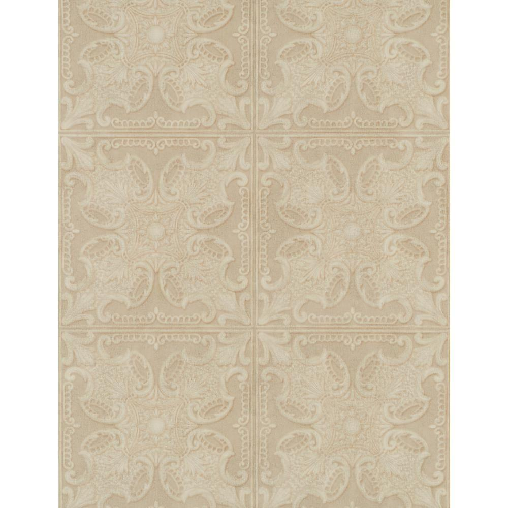 York Wallcoverings 57.75 sq. ft. Weathered Finishes Tin Tile Wallpaper-PA131203