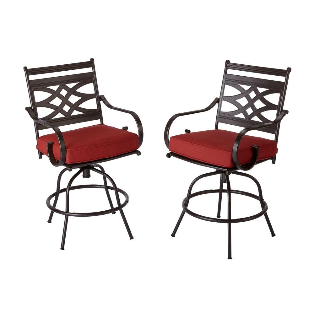 Hampton Bay Middletown Patio Motion Balcony Chairs with Chili Cushion